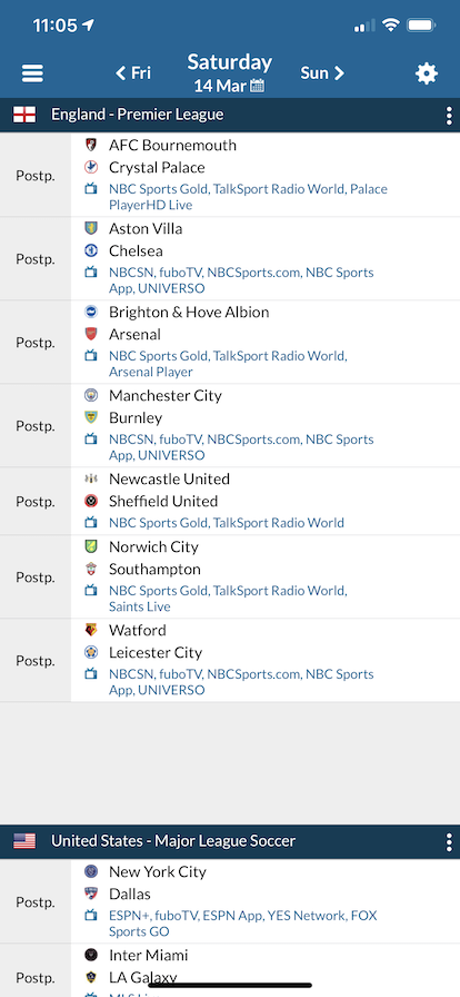 EPL schedule from Live Soccer TV app, with all matches listed as postponed